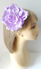 """Gorgeous 5"""" large lilac fabric hair flower - Multi use clip - bobble - brooch"""