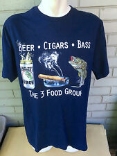 Beer Cigar Smoker Bass Fishing Anglers Brew 3 Food Groups Large T-Shirt