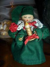 VINTAGE CHRISTMAS TREE DECORATION DRESSED CORN DOLLY CHOIR GIRL SINGER WOOD BASE