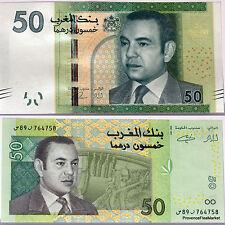 MAROC LES 2 billets  50 DIRHAMS du ROI   MOHAMMED VI , M6 . NEUF