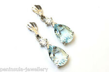 9ct White Gold Blue Topaz Drop earrings Made in UK Gift Boxed