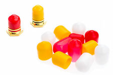 12 RCA Dust / Socket Caps 4 Red 4 Yellow 4 White + FREE Postage
