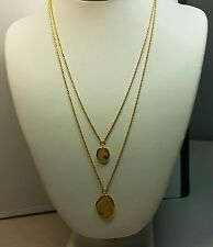 Beautiful Lab Created Opal 2 Strand Necklace in Silver Vermeil - 18/20 Inches