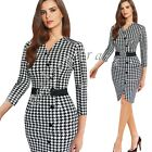 Women Elegant Houndstooth V neck Tunic Formal Wear To Work Party Pencil Dress