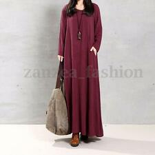 ZANZEA Vintage Women Long Sleeve Cotton Oversized Autumn Party Kaftan Maxi Dress