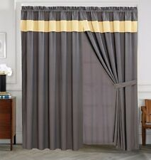 4 Piece Yellow Grey RENEE Curtain set with attached Valance and Sheers