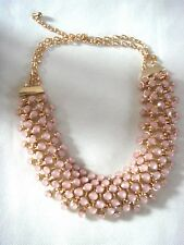 New Womens Vintage Style Opalescent Pink Large Bib Statement Gold Tone Necklace
