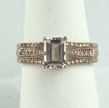 BRAND NEW Emerald Morganite Pink Rose Gold Engagement Ring 14K Wedding Diamonds