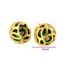 Wholesale Gorgeous 9K Gold Filled Green CZ Women's Hypoallergenic Stud Earrinng