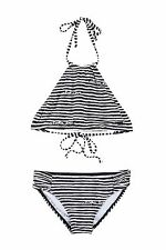 BILLABONG ALOHA LOVE CROP SWIMSUIT BIKINI 2 PIECE OFF BLACK GIRLS SIZE 4 NEW $55