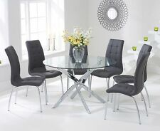 Elegance Glass 120 cm Round Table and 4 Grey Dining Chairs