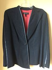 WOMEN'S NEW ESCADA BLACK WOOL/ SILVER THREA  JACKET WITH FAUX LEATHER TRIM SZ38
