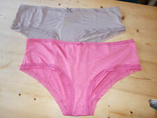 M&S Set of 2 Low Rise Lace Trim Shorts Briefs 22 Pink & Praline BNWT