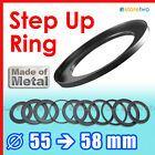 Step Up 55mm to 58mm Filter Ring Adapter Mount 55-58mm Thread CPL UV ND Metal