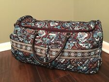 "Vera Bradley 26"" Java Blue Rolling Duffle Travel Bag  Luggage Tag and Lock"