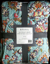 NWT BLUE TURQUOISE FLORAL PAISLEY QUILT THROW BLANKET BEDDING FULL QUEEN IBIZA