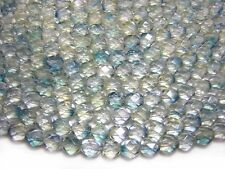 6mm Blue Crystal Luster Czech Glass Firepolished Round Beads (25) #4083