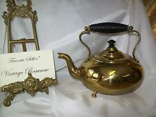 Vintage Brass Teapot Triple Footed Gooseneck Spout Stationary Handle Very Good C