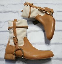 Chicest: Celine £700 Canvas & Leather Stirrup Slouch Ankle Boots NWT IT36/UK3