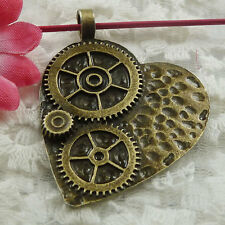 Free Ship 18 pieces bronze plated wheel gear heart pendant 48x38mm #761