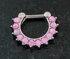 1Pc 12 Tiny 2mm Pink Fire Opal Stone Septum Clicker Nose Ring 16g Surgical Steel