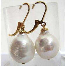 new AAA 13-16mm South Sea White Baroque Pearl Earrings 14K SOLID GOLD
