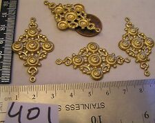 4 Vtg Brass 46x26mm Connector 2 way Lavelier Necklace Filigree Jewelry Pendant