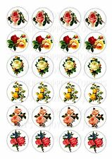 24 VINTAGE ROSES / FLOWERS WAFER RICE PAPER EDIBLE FAIRY/CUPCAKE  CAKE  TOPPERS