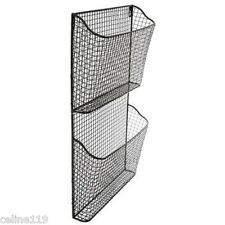 NEW! Magazine File Rack Organizer Wall Mounted Hanging Storage Basket 2 Tier