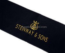 Steinway Piano Key Cover - Black PREMIUM Felt Embroidered Keyboard Cover