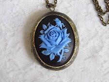 #JRK1003 Blue Rose Gothic Locket Necklace Picture Keepsake Steampunk Stash Box