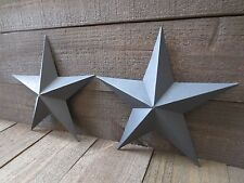 "Lot of 2 Country Primitive 10"" Black Barn Stars Rustic Wall Decor Dimensional"
