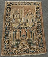 INTERESTING ANTIQUE NORTH AFGHAN KIZIL AYAK PICTORIAL PRAYER RUG MOSQUE RUG