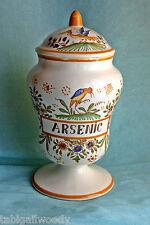 """Pot apothicaire (pharmacie)  décoré avec """"ARSENIC""""  26cm,vrai Moustiers, signé."""