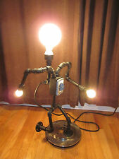 Steampunk Industrial Art Table Desk Lamp Light Running Robot Machine Android Man