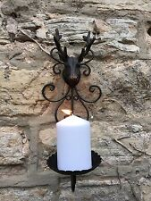 Stag deer head candle holder rustic cast metal bronze wall sconce new