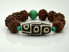 Big 9-eye dZi Bead Rudraksha Bodhi Seed Turquoise Bracelet , Powerful Energy!