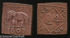 RARE ANCIENT SOUTH INDIAN COPPER 1808 ELEPHANT SQUARE COIN