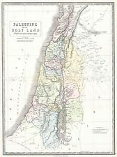 GEOGRAPHY MAP ILLUSTRATED ANTIQUE PALESTINE ANCIENT TRIBE POSTER PRINT BB4460A