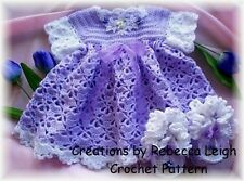 "CROCHET PATTERN for ""TULIP TIME"" Baby Dress/Booties by REBECCA LEIGH-3/6/12/18mo"