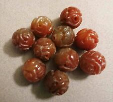 10pc VINTAGE CARVED CHINESE CARNELIAN BEADS LONGEVITY SHOU DRAGON 16mm YUMMY TP