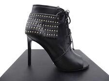 YSL Yves Saint Laurent Black Jane 105 Peep Toe Fringe Studded Booties 39