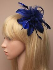 LADIES BLUE HAIR FASCINATOR HEAD 9847 BEADED FEATHER RACES WEDDING LADIES FLOWER