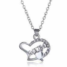 *UK* 925 Silver mum Pendant mothers day Gift Diamantes Jewellery Necklace Gift