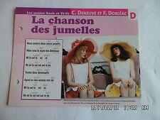 CARTE FICHE PLAISIR DE CHANTER C.DENEUVE F.DORLEAC LA CHANSON DES JUMELLES