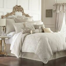 NEW Waterford Genevieve Sand Ivory Creme KING Duvet Cover MSRP $695 - GORGEOUS!
