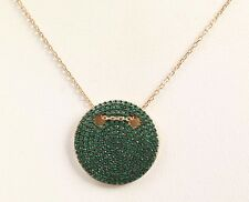 CIRCLE HANDMADE EMERALD .925 SOLID STERLING SILVER NECKLACE #76357