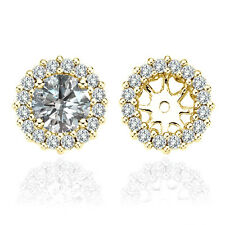 VVS1 Diamond Halo Solitaire Stud Bridal Earrings Jacket 14K Solid Yellow Gold