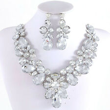 DAZZLING CLEAR RHINESTONE CRYSTAL STATEMENT SILVER CHAIN NECKLACE EARRING SET
