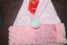 "Baby's First 1st Christmas  Stocking Hat Holiday 12"" NEW Soft Fleece GIRL PINK"